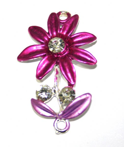 1pce x 35mm*22mm Pink daisy with leaves connector - enameled alloy charm with rhinestones (2)